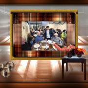 De foto van de laatste maaltijd bij SamenMetDeBuurt in een bewerking van Diny van Heese
